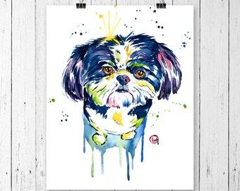 SHIH TZU PRINT, Shih tzu portrait, Dog Art, Dog prints, Dog watercolour, Cute Dog, Shih tzu watercolour, Pet Portrait, Modern art, Dog lover