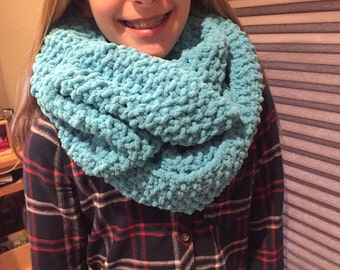 """Warm, Washable Chenille Infinity Scarf with a """"bubble"""" effect stitch"""