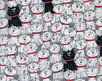 Black & White Cats Timeless Treasures Cotton Fabric Gail-C3040 White, By the Yard