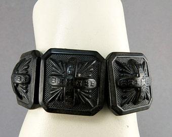 Antique Bracelet Black Vulcanite Bracelet Mourning Jewelry Vulcanite Jewelry Collectible Antique Jewelry