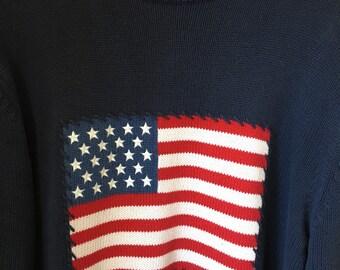 Vintage American Flag Sweater Size M-L