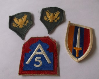 4 Vintage US ARMY Military Patches Military Badges, Eagles, Sword, 5th Infantry, Old Military Patch Lot of 4