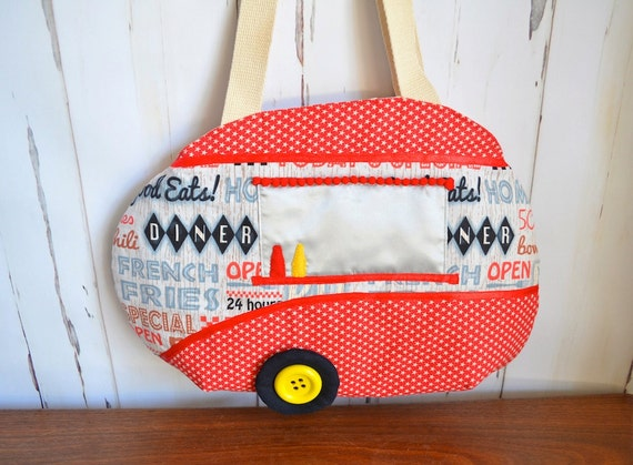 Caravan bag, retro trailer bag, quirky handbag, OOAK gift, gift for foodie, red tote, fast food, diner, whimsical bag
