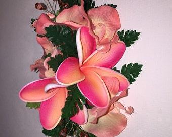 PLUMERIA CORALIA-Hawaiian Plumeria Hair clip,Silk Orchids,Coral color crystal.Salmon,Coral colors.Beach Brides,Tropical wedding,Hula,Pinups.