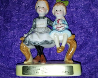 "Charming 1971 Holly Hobbie Figurine ""A True Friend is The Best Possesion"" Two Little Girls Sitting on a Bench"