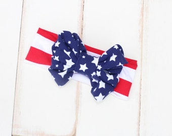 4th of July Headband. Big bow for 4th of July. Stars and stripes headband