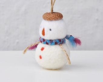 Christmas decoration snowman ornament - blue scarf, Felted Christmas ornament, felt snowman ornament, handmade ornament, Holiday decoration