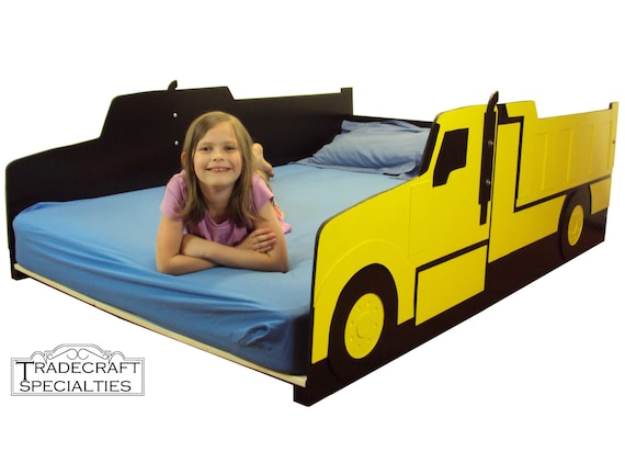 Truck full size kids bed frame handcrafted truck themed - Dump truck twin bed ...