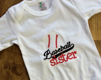 baseball sister, baseball bodysuit, little sister biggest fan, baseball gender reveal