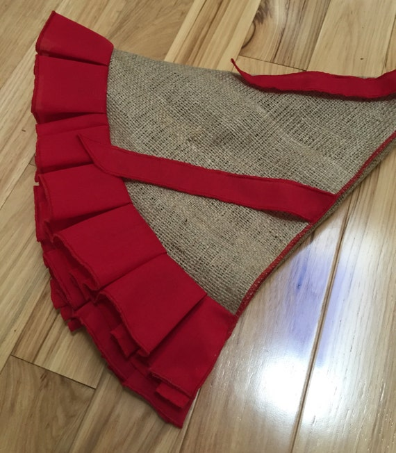 burlap tree skirt with red ruffles select a size no