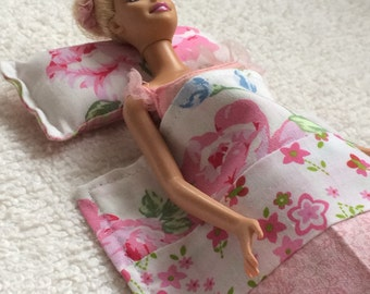 Pretty barbie-sized Blanket and Pillow