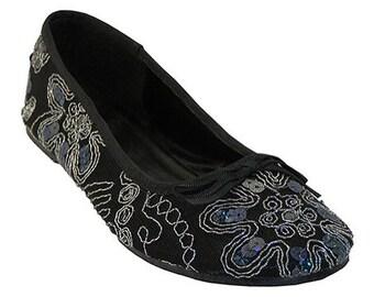 Women handmade Black Sequin Embroidered indian jutti Ballet Flats loafers slip ons sz 6