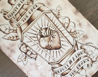 Beautiful Heart - Tattoo Art - Pyrography - Wood burning - Wooden Sign - Art on Wood - Gifts for Her - Rumi Quote - TimberleeEU