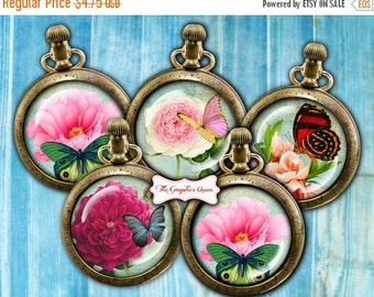 80 % off SaLe Flowers and Butterflies Instant Download Round Images for Cupcake Toppers, Pocket Mirrors, Magnets, Digital Collage Sheets