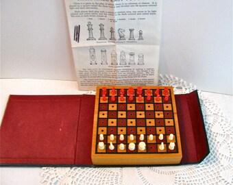 Drueke Travel Chess Checkers Vintage Book Style