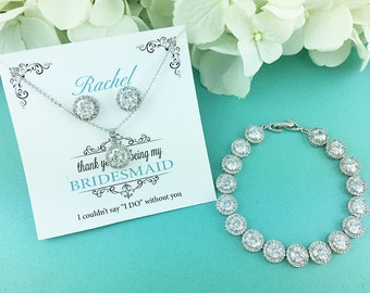 Bridesmaid Jewelry Gift Set, Personalized Bridesmaids Gift, Bridesmaid Stud Earrings, Bridesmaids Gifts, Bridesmaid Jewelry Gifts 455435726