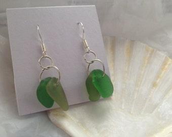 Double green seaglass earrings