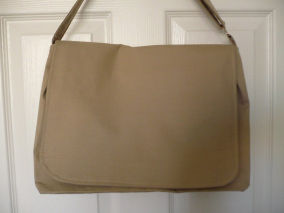 Solid Beige Messenger Diaper Bag