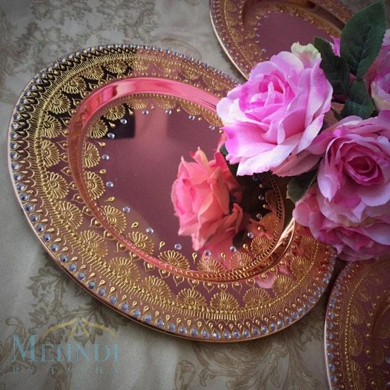 Mehndi Flower Plates : Rose gold wedding mehndi thaal charger plate decor