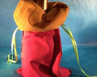 Wine Bag - Magenta Daisy/Yellow