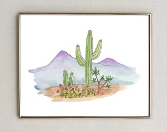 Cactus and Mountain Water Color Print