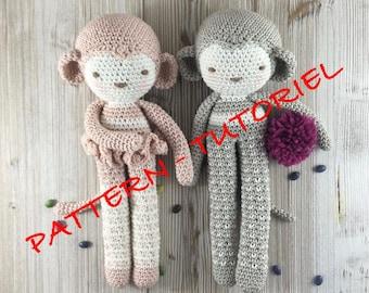 PDF crochet Pattern Amigurumi Monkey toy, crochet, instant download tutorial, monkey doll, amigurumi monkey, crochet amigurumi, handmade,