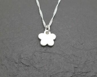 Small fine silver flower pendant