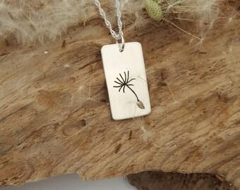 Sterling silver Dandelion seed head pendant