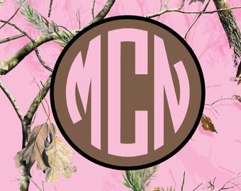 Monogrammed pink camo Car Tag