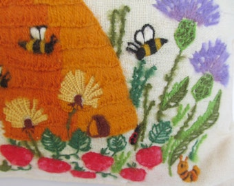 Bee - Hive Throw Pillow  Needlepoint - Embroidered  --14 1/2'' x 14 1/2''