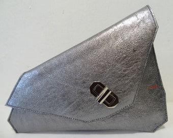 Sumaya Silver Asymmetrical Clutch