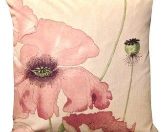 Swaffer Poppyfields Soft Red Eden Watercolour Wildflowers Cushion Cover