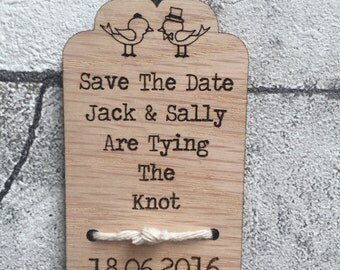 Save The Date Wooden Engraved Fridge Magnets  Tying the knot