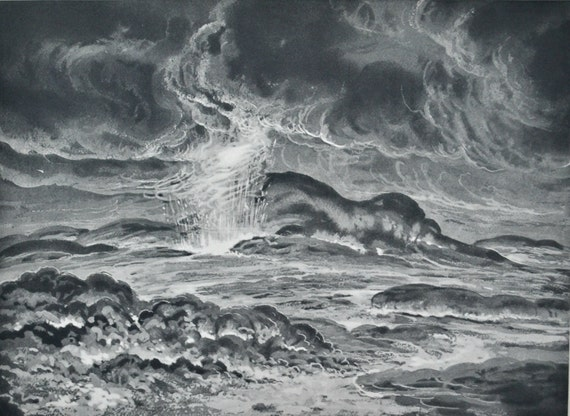 Surface of Jupiter.  Astonomy print. Old book plate, 1937. Antique  illustration. 78 years lithograph. 9'4 x 12'1 inches.