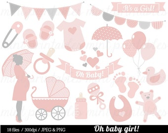 Baby Girl Shower Clipart, Baby Clipart, Baby Clip Art, Umbrella, Pink, stroller, onesie, bunting - Commercial & personal - BUY 2 GET 1 FREE!