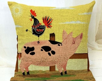 Farm Friends, Rooster and Pig - Pillow Cover