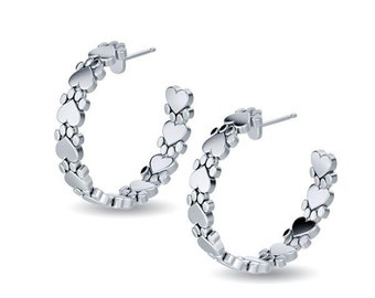 Paw Print Hoop Earrings in Sterling Silver for all the Dog, Cat and Pet Lovers