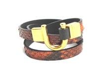 Leather Bracelet Wrap Python Skin Brown