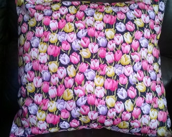 "Spring like Multicoloured Tulips cushion cover 16 "" × 16 "" pink lilac yellow"