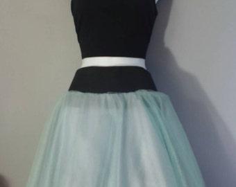 Knee length tulle skirt.