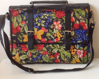 Vintage briefcase with flower print