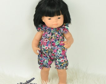 Miniland Doll clothes, 16 inches doll clothes, romper for Miniland, floral romper
