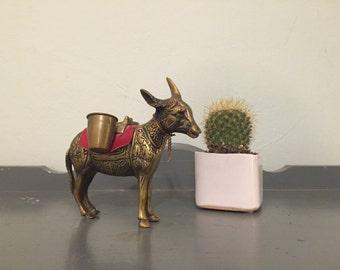 Small Brass Donkey / Burro / Pack Mule Figurine
