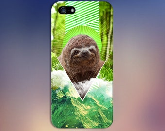Geometric Nature Sloth x Green Mountains Phone Case for iPhone 6 6 Plus iPhone 7  Samsung Galaxy s8 edge s6 and Note 5  S8 Plus Phone Case