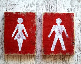Toilet door sign WC signs ladies and gentlemen Restroom sign set Wood bathroom signs Male and female Reclaimed wood