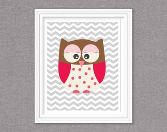 8x10 instant download- brown owl with gray chevron background