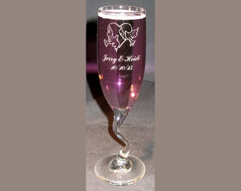 Z-Stem Flute, Engraved Flute, Engraved Champagne Flute, Personalized Toasting Flute, Wedding Gift, For the Bride and Groom