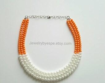 Orange Necklace Pearl Necklace Statement Necklace Layered Necklace Necklace Orange Wedding Jewelry Orange Chunky Bib Choker