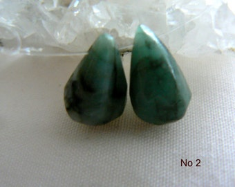 Emerald gemstone briolettes- emerald matching drops- 11-14mm -2 beads. Jewelry beads supply- faceted emerald drops gemstone
