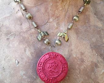 Faux Cinnabar Deco Brass Necklace
